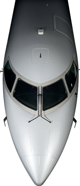Front of a Mitsubishi Heavy Industries CRJ1000 aircraft while flying