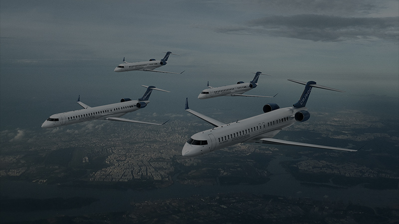 MHIRJ CRJ Series aircraft CRJ550, CRJ700, CRJ900 and CRJ1000 aircraft flying side by side